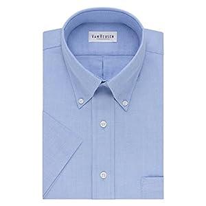 """Van Heusen Men's Short-Sleeve Oxford Dress Shirt, Blue, 21"""""""
