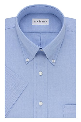 Van Heusen Men's Short-Sleeve Oxford Dress Shirt, Blue, 17.5""