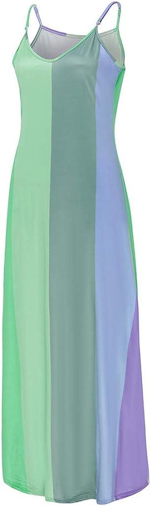 Mrulic Women's Sleeveless V-Neck Tie Dye Print Maxi Dress Long Summer Dresses Casual Loose Beach Dresses Elegant Cocktail Dresses Evening Dress Party Dresses B1 Green