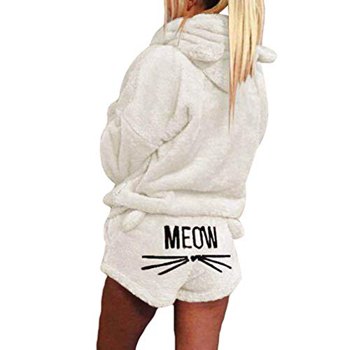 Deux Mignon Corail Nuit De Velours Costume Shorts Automne Chat Blanc Pyjamas Crémeux Motif Hiver Vêtements Femmes Juleya Piece Hoodies Chaud Outfit Ensemble Nouvelle OZzqII