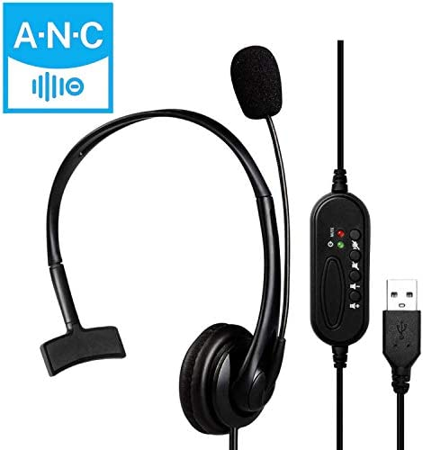 USB HeadsetMicrophone MONODEAL Computer HeadphoneMic for Laptop PC Wired HeadsetVolume Controller for Call Center/Office/Conference Calls/Online Course Chat/Skype/Google Voice etc