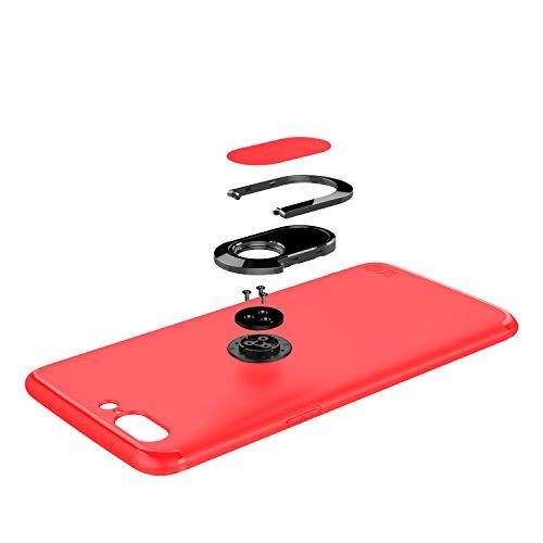 Funda Ultra-Fina de Orzly para el OnePlus 5, Carcasa Protectora Slim-Stand [Anti-Arañazos] para el OnePlus 5 en NEGRO con Stand Integrado en forma de Anillo para Mejor Agarre y Soporte para la Pantall ROJO para OnePlus 5