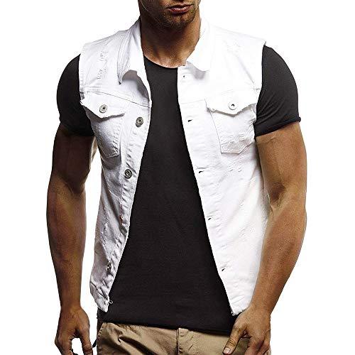 New York Giants Denim - Men's Autumn Winter Destroyed Vintage Denim Jacket Waistcoat Blouse Vest Top