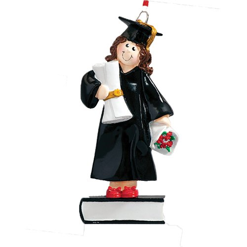 Personalized Graduate Girl Christmas Tree Ornament 2019 - Brunette Woman Dress Diploma Book Female Under-Graduation PhD Masters Degree New End School Teen - Free Customization (Brown Hair)
