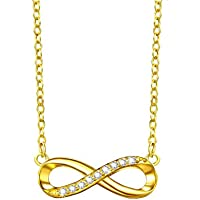 F.Zeni 925 Sterling Silver 18K-Gold Plated Infinity Necklace