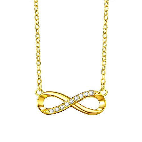 F.ZENI Women Necklace Yellow Gold Plated 925 Sterling Silver Pendant Infinity Forever Love Delicate Choker for Women Girls with Gift Box - 16