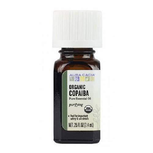 AURA CACIA Organic Copaiba Essential Oil, 0.25 FZ