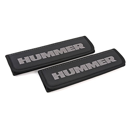 Hummer H2 / H3 seat belt covers pads shoulder for adults Black seatbelt cover pad with embroidered Hummer emblem ( silver ) Interior accessories 2 - H2 Seat Belt Hummer