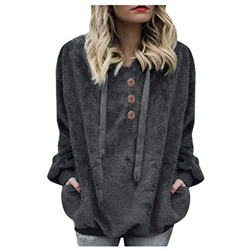 Women's Warm Faux Fur Sweatshirt Pullover Fleece Button Hoodies Winter Sweater Outerwear