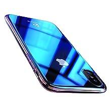 iPhone X Funda, FLOVEME Luxury Slim Fit Hybrid Gradual Colorful Color de degradado Cambiar Ultra Thin Lightweight Electroplating Bumper Anti Scratch Clear Funda rígida de PC, Azul transparente