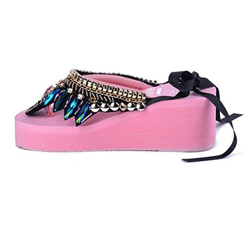 ge Flip Flops Sandals Vintage Bohemian Gemstones Folk Thongs Slippers ()