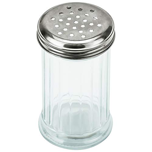 DecorRack Large Spice and Cheese Shaker, Restaurant Style Glass 10 oz Jar with Stainless Perforated Steel Lid, for Graded Parmesan Cheese, Seasoning, Herbs, Salt, Pepper, Cinnamon, (1 Pack)