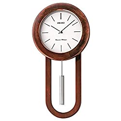 Seiko Circular & Sleek Wall Clock with Pendulum and Dual Chimes, Brown