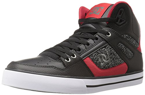 DC Men's Spartan HI WC Skateboarding Shoe, Black/Black/Red, 7 M US