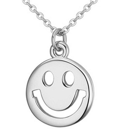Lovely Land Emoji Pasta Lovely Face Pendant Necklace (Smile(white))