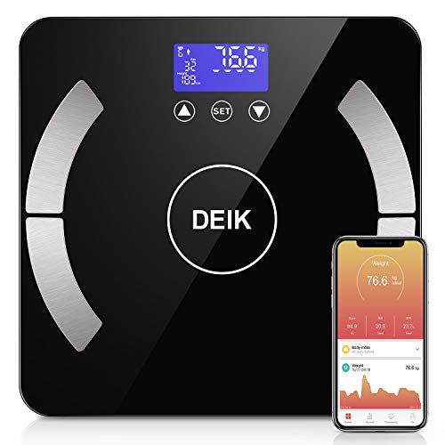 DEIK Body Fat Scale, Bluetooth Bathroom Scale with Smartphone APP, 18 Body Composition Analysis, High Precision Sensors, LCD Backlit Display, Include 3 AAA Batteries, ()