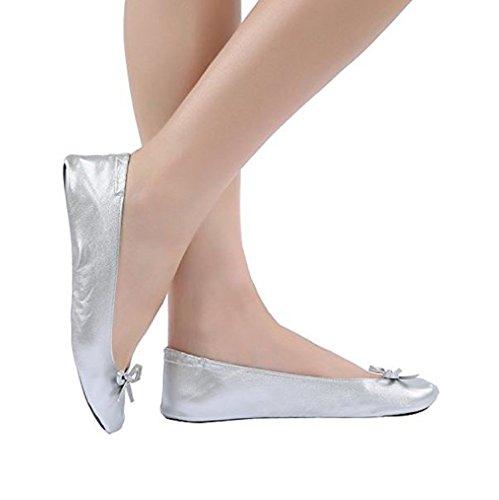 Faltbare Schuhe für die Handtasche Damen Schuhe mit faltens Tragetasche . Gut für wunde Füße in High Heels. Größe EU 35 to 36 Silber farbe tragbare Reise Schuhe.