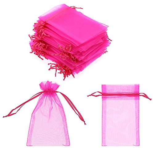 SumDirect 100Pcs 4x6 Inches Sheer Drawstring Organza Jewelry