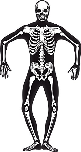 Smiffy's Men's Skeleton Second Skin Costume, Black, Concealed Fly and Under Chin Opening, Legends of Evil, Halloween, Size S, (Glow In The Dark Skeleton Suit)