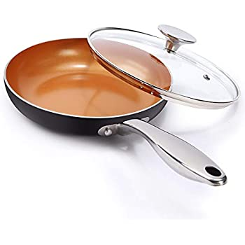 MICHELANGELO 8 Inch Frying Pan with Lid, Ultra Nonstick Small Frying Pan with Ceramic Titanium Coating, Copper Frying Pan With Lid, Nonstick 8 Inch Skillet ...