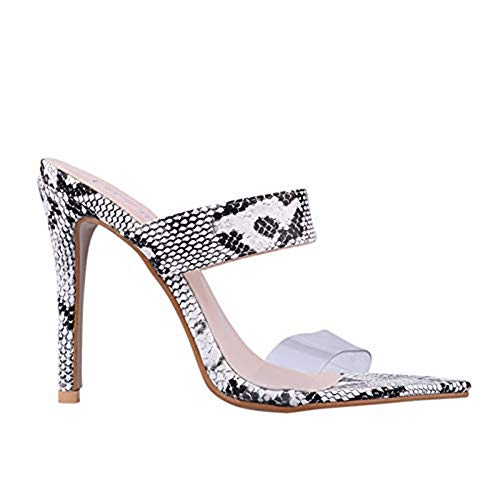 LALA IKAI Women Sneak Print Mules Heels Slip on Clog Sandals Open Toe Dress Pumps Slide Shoes