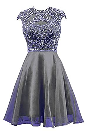 RohmBridal Women's Sparkling Organza Short Prom Cocktail Party Dress Black 22