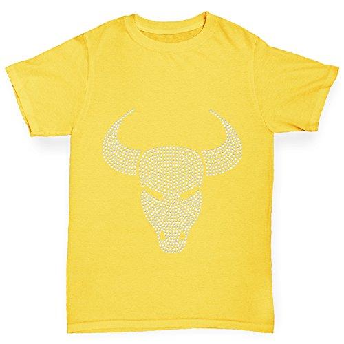 Twisted Envy Capricorn Zodiac Star Sign Rhinestone Yellow Girl's T-Shirt Age (Gems For Grls)