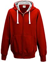 Mens/Boys Full Zip Hoodie AWDis Zoodie Fire Red XL