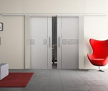 Correderas de cristal de la puerta doble con dos discos de madera ...