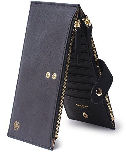 Borgasets RFID Blocking Women's Genuine Leather Wallet Credit Card Holder Zipper Purse (Nubuck Black) - Bag Credit Card Wallet Holder