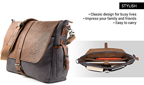 Vetelli Laptop Computer Messenger Tablet Bag with scratch protection lining  for laptops or 6b9c575481a1c