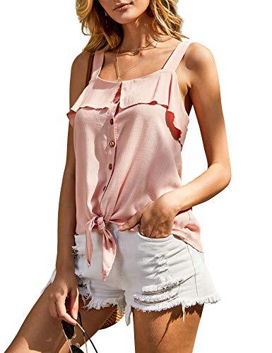 - imesrun Womens Strappy Tie Front Tank Tops Sleeveless Button Down Shirts Ruffle Blouse Pink Medium