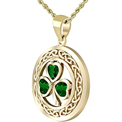 New Solid 14k Yellow Gold Irish Shamrock 3 Leaf Clover Simulated Emerald Pendant Necklace