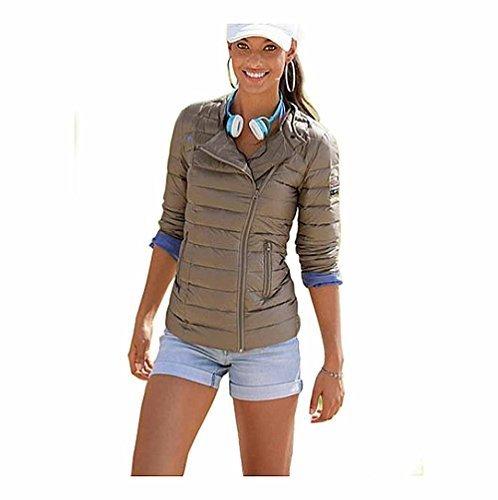 KangaROOS–Chaqueta para mujer tendencia de moda acolchada chaqueta biker chaqueta de Down medios de comunicación Puerto para MP3, funda para teléfono marrón