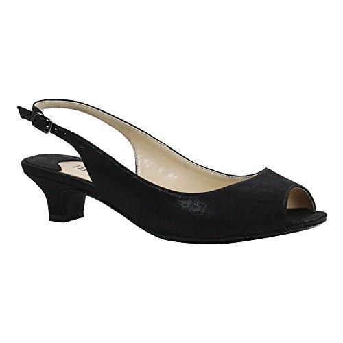J. Renee Women's Jenvey Low Heel Slingback,Black Satin,US 7.5 W