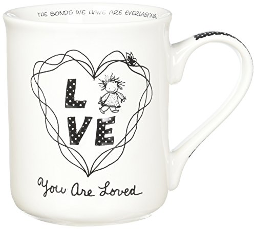 Enesco 4058325 Children of The Inner Light You are Loved Girl Stoneware Coffee Mug, 16 oz, White ()