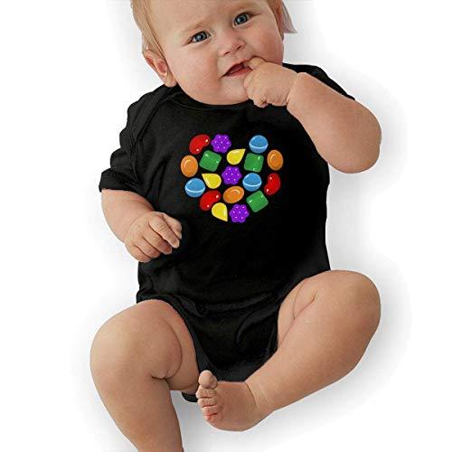 sretinez Candy Crush Saga Unisex Cool Boys & Girls Romper Baby BoyPlay Suit Black ()