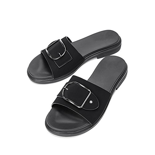 de DHG Dulces Mujer Sandalias Zapatillas Color Planas Punta de Sandalias de Moda de Sandalias de Ocasionales S Verano HqAfp0Hx