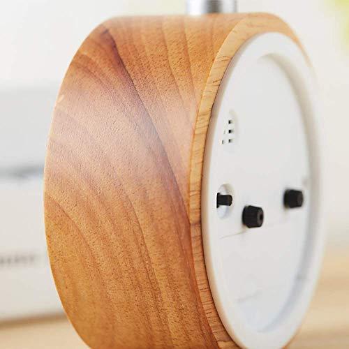 LED Fashion Einfache moderne Holz Farbe Runde Eiche Schlafzimmer Arbeitszimmer Wohnzimmer Nachtlicht Wecker Dekoration Uhr Exquisite Jzx-n