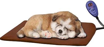 Qiu's Home Cojín de calefacción eléctrica para Mascotas,Almohadilla de Calentamiento para Perros y Gatos con 7 Niveles de Temperatura Ajustables(40 * 30cm) (Azul) (Marrón)