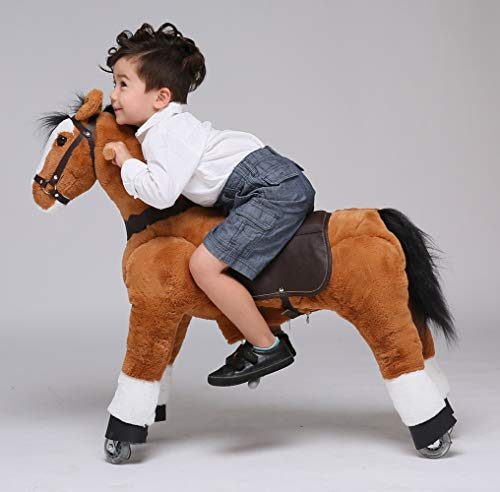 UFREE Horse Action Pony, Ride on Toy, Mechanical Moving Horse, Giddyup for Children 4 to 9 Years Old, Height 36 Inch (Black Mane and Tail) ()