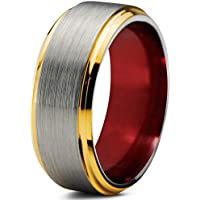 Chroma Color Collection Tungsten Wedding Band Ring 8mm for Men Women Green Red Blue Purple Black 18K Yellow Gold Grey Center Line Step Bevel Edge Brushed Polished