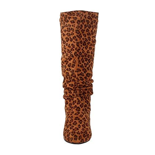 West Blvd - Saigon Slouchy - Stiefeletten mit mittlerem Kalb Leopard Wildleder