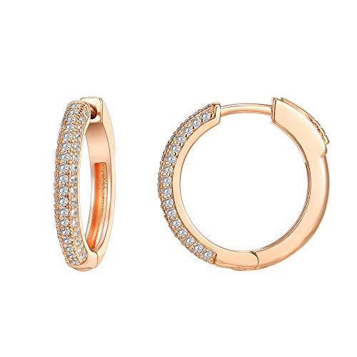 PAVOI 14K Gold Plated 925 Sterling Silver Cubic Zirconia Hoop Earrings | Rose Gold Hoops