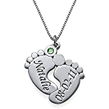 Stan-Deed Custom Name Necklace Personalized Baby Feet with Birthstone Custom Made Engraved Name Date Pendant Mother's Day Jewelry