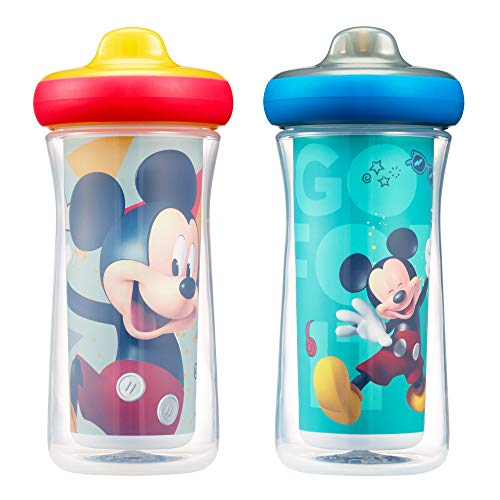 Disney Mickey Mouse Insulated Hard Spout Sippy Cups 9 Oz, 2pk | Scan with Free Share the Smiles App for Cute Animation | Share with Friends | Leak Proof Cups ()