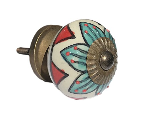Red & Teal Design Round Knob, Drawer Pull, Cabinet Pull - Pack of 12
