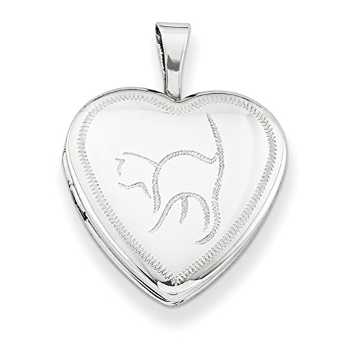 Sterling Silver Diamond-Cut Cat Heart Locket Necklace, 18'' by The Men's Jewelry Store (for HER)