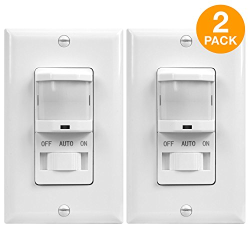 TOPGREENER In-Wall PIR Sensor Switch, Occupancy Sensor Switch, Motion Sensor Switch, On/Off Override, 500W, Single Pole, NEUTRAL WIRE REQUIRED, White, TSOS5-W, 2 Pack