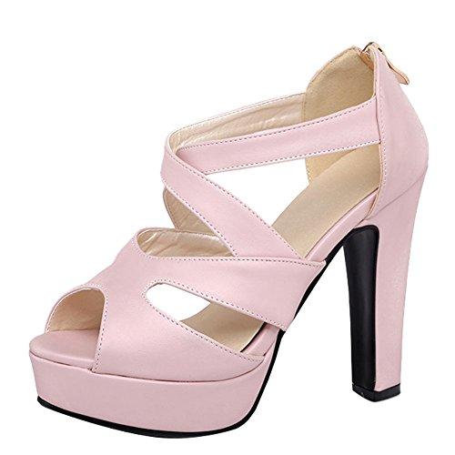Mee Block Zip High Heel Platform Shoes Women's Charm Pink Sandals vaqvw
